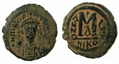 Ancient Coins - BYZANTINE EMPIRE.Maurice Tiberius AD 582-602.AE.Follis.Year 4 (AD 587/8).Mint of NICOMEDIA