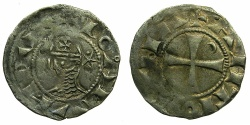 World Coins - CRUSADER STATES.Principality of ANTIOCH. Bohemond III or IV c.1149-1233Bi.Denier.Class C. Varient with dot betwee upper rays of star.