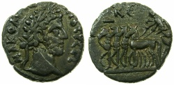 Ancient Coins - EGYPT.ALEXANDRIA.Commodus Sole reign AD 180-192.Billon Tetradrachm, struck AD 184/85.~#~.Nike in quadriga.
