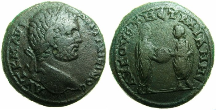 Ancient Coins - THRACE.AUGUSTA TRAINA (TRAJANOPOLIS).Caracalla Augustus with Geta AD 211-212.AE.30mm~~~Caracalla and Geta standing facing holding globe.