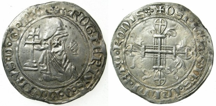 Ancient Coins - CRUSADER STATES.RHODES.Roger de Pins AD 1355-1365.AR.Gigliato.2nd issue with Pine cone symbol