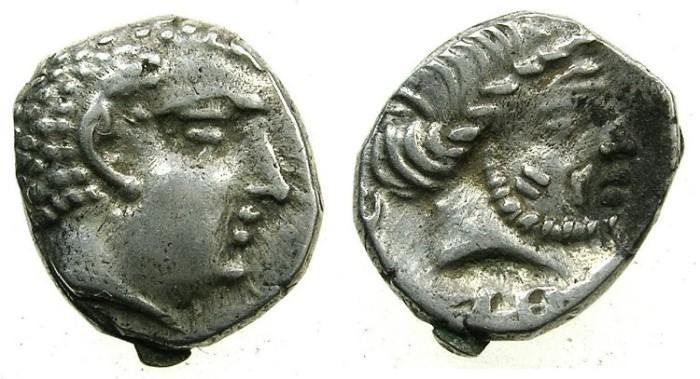 Ancient Coins - SOUTH ARABIA.KATABANIAN. end 1st cent BC to 1st cent BC.AR.Unit.~~~.Beardless male head.~#~.Bearded male head