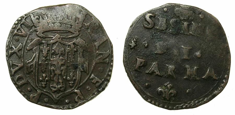World Coins - ITALY.PARMA.Ranucio Farnese Duke AD 1646-1694.AE.Sesino.