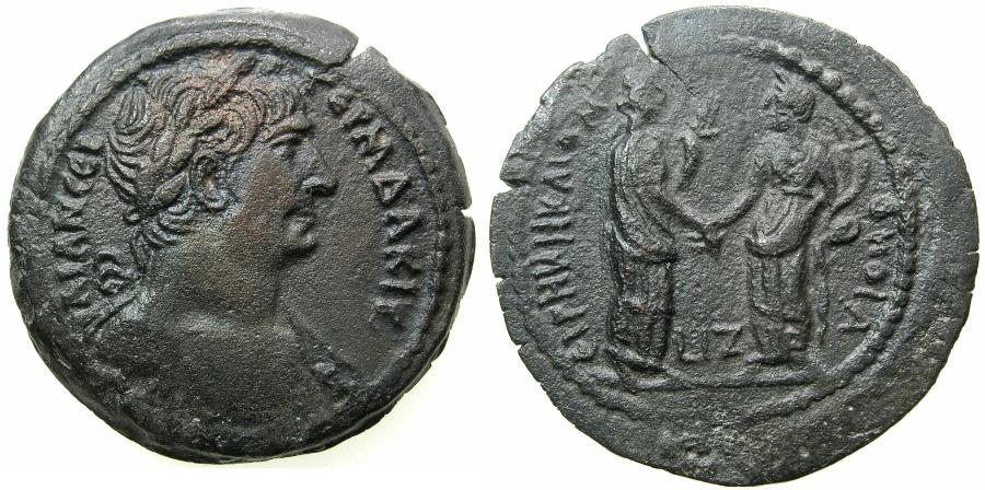 Ancient Coins - EGYPT.ALEXANDRIA.Trajan AD 98-117.AE.Drachma, struck AD 132/133.~#~.Eirene greeting Omonia.