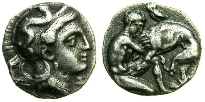Ancient Coins - CALABRIA.TARENTUM.Circa 400-300 BC.AR.Diobol.~~~.Bust of Athena.~#~.Herakles strangling lion.