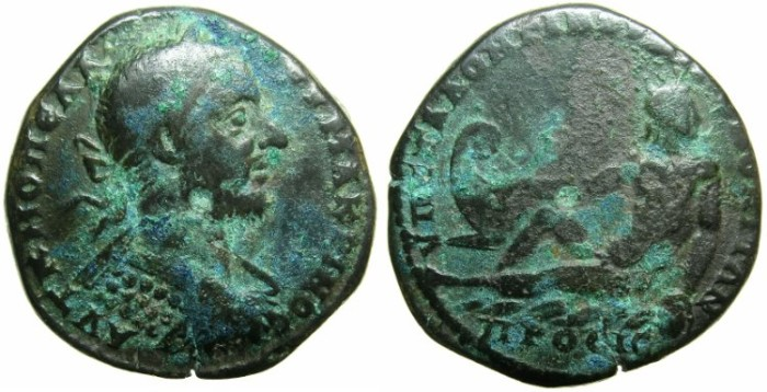 Ancient Coins - MOESIA INFERIOR.NIKOPOLIS AD ISTRUM.Macrinus AD 217-218.AE.26.~#~River God Istros reclining.