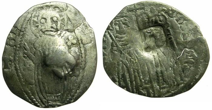 Ancient Coins - SERBIA.Stefan Uros IV Dusan as Emperor AD 1345-1355.AR.Dinar. ~#~Bulgarian countermark Bird.