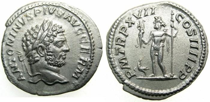 Ancient Coins - ROMAN.Caracalla Sole Emperor AD 212-217.AR.Denarius AD 214.~~~ JUPITER.