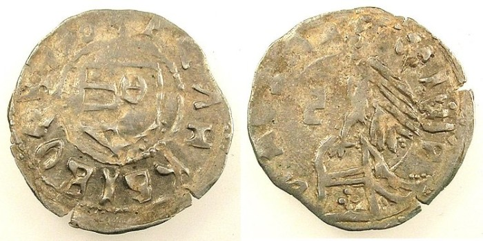 Ancient Coins - ROMANIA.Voivodes of Wallachia.Radu I AD 1377-1383.Bi.Denier.Slavonic legends.