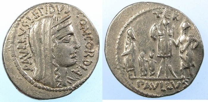 Ancient Coins - ROME.REPUBLIC.Pavllus Lepidus L.Aemilis.62 BC.AR.Denarius.Condcordia.Rev.King Persus of Macedon