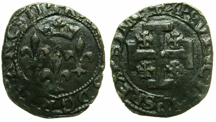 World Coins - ITALY.Kingdom of NAPLES.Charles VIII of France AD 1495-1496.AE.Cavallo, Type 2. Mint of SULMONA.