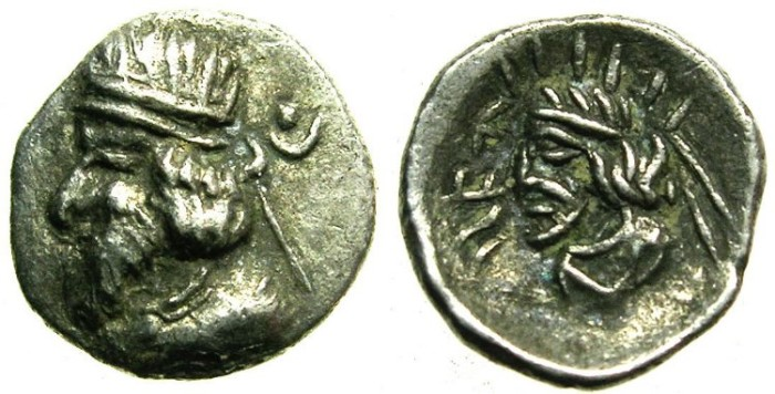 Ancient Coins - PERSIS.Ardaxsir III.AR.Obol.Unpublished varient?