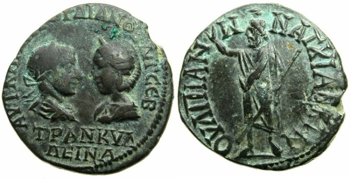 Ancient Coins - THRACE.ANCHIALIS.Gordian III and Tranquillina AD 241-244.AE.25.6mm.~#~.Serapis standing.