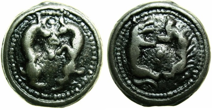 Ancient Coins - CELTIC.Gallia Belgica.The Senones.Anonymous issue.Circa 100-60 BC.Cast Potin.Two goats.Wolf and Boar.