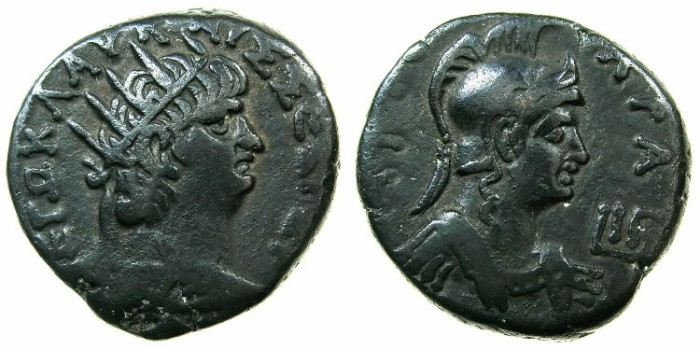 Ancient Coins - EGYPT.ALEXANDRIA.Nero AD 54-68.Billon Tetradrachm, struck AD 66/67.~#~.Bust of ROMA.