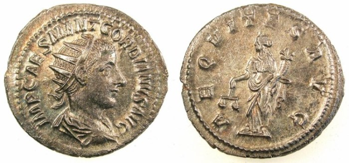Ancient Coins - ROME.Gordian III AD 238-244.AR.Antoninianus.Rev.Aequitas.Mint of Antioch.