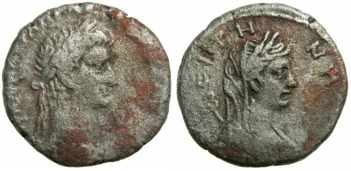 Ancient Coins - EGYPT.ALEXANDRIA.Galba AD 68-69.Billon Tetradrachm.Struck AD 68?.~#~.Bust of EIRENE