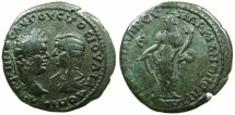 Ancient Coins - MOESIA INFERIOR.MARCIANOPOLIS.Caracalla and his mother Julia Domna AD 212-217.AE.5 Assaria.~#~.Tyche standing.