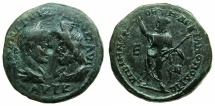 Ancient Coins - THRACE.MOESIA INFERIOR.MARCIANOPOLIS.Gordian III and Serapis AD 238-244.AE.5 Assaria. Naming Roman legate Menophilus.~#~.Serapis standing.