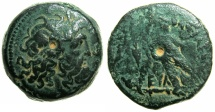 Ancient Coins - PTOLEMAIC EMPIRE.CYPRUS.Ptolemy IV Philopator 221-205 BC.AE.22.2mm.~#~ Lotus bud and magistrates initials.