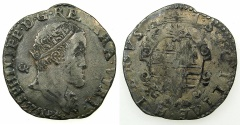 World Coins - ITALY.Kingdom of Naples and Sicily.Philip II 1554-1598, 2nd period King of Spain and Naples-Sicily 1556-1598.AR.Tari 1575.Mint of NAPLES.