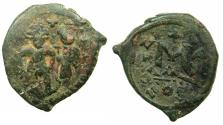 Ancient Coins - BYZANTINE EMPIRE.Heraclius AD 610-641.AE.Follis.struck AD 629/30.Mint of CONSTANTINOPLE.