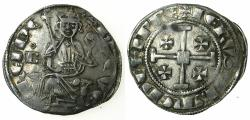 World Coins - CRUSADER STATES.CYPRUS. Hugh IV 1324-1359.AR.Gros Grand.cross at neck, letter B left field with annulet above.