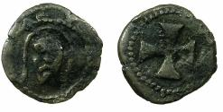 World Coins - ITALY.ROMAN SENATE.Anonymous.Billon Piccolo.13th -15th cent AD. Facing bust of Christ. Ex.Slocum collection.