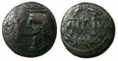 Ancient Coins - Islands of Sicily, COSSURA.2nd cent BC.AE.20mm. Isis wearling Klaft.