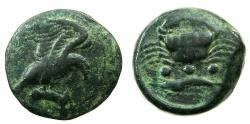 Ancient Coins - SICILY.AKRAGAS.Circa 425-406 BC.AE.Trias. Eagle with hare.Reverse. Crab.