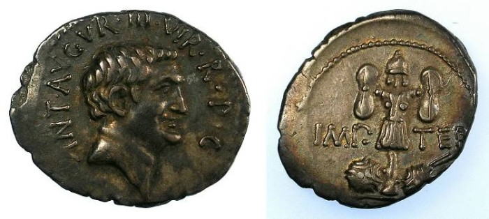 Ancient Coins - ROME Mark Antony committed suicide 30 BC.AR Denarius Rev.Trophy and shields