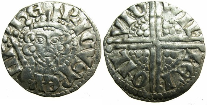 """Ancient Coins - ENGLAND.Henry III AD 1216-1272.AR.Penny.""""Long cross""""class 5c.Moneyer WILLEM.Mint of LONDON."""