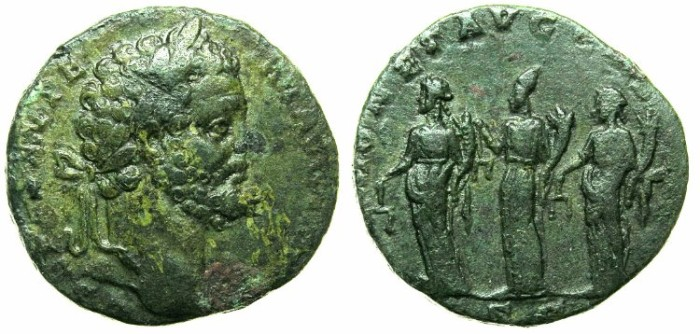 Ancient Coins - ROMAN.Septimius Severus AD 193-211.AE.Sestertius.Struck AD 194( or later ).Three Monetae.