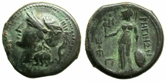 Ancient Coins - BRUTTIUM.RHEGIUM.Circa 203-89 BC.AE.Pentonkion.Athena. Athena Nikephoros.