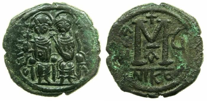 Ancient Coins - BYZANTINE EMPIRE.Justin II AD 565-578.AE.Follis,struck AD 570/571.Mint of NICOMEDIA
