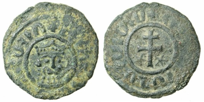 Ancient Coins - ARMENIA.Levon I The Great AD 1198-1219.AE.Tank.Lion head / Patriachal cross