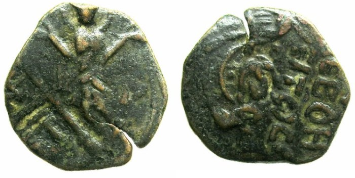 Ancient Coins - CRUSADER.ANTIOCH.Roger of Salerno AD 1112-1119.AE.Follis.2nd type.Virgin Orans.
