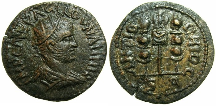 Ancient Coins - PISIDIA.ANTIOCH.Volusian AD 251-253.AE.21.5mm.~#~Eagle between two Vexillum.