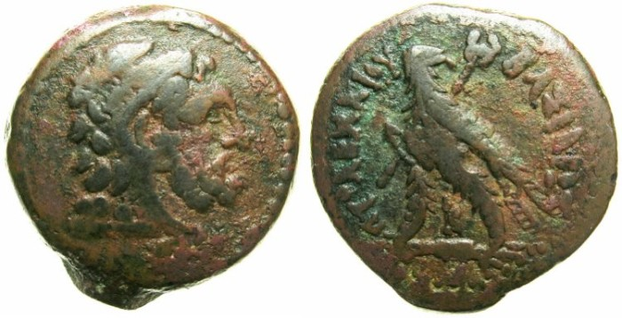 Ancient Coins - EGYPT.ALEXANDRIA.Ptolemy IV Philometer 180-145 BC.AE.24.6mm.~#~.Bearded head of Herakles right.