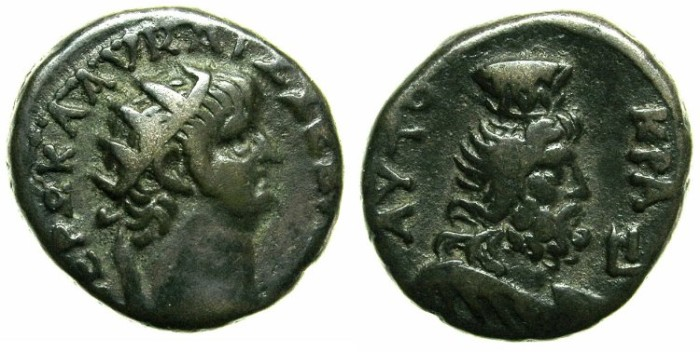 Ancient Coins - EGYPT.ALEXANDRIA.Nero AD 54-68.Bi.Tetradrachm.Struck AD 63/64.Serapis wearing Modius.