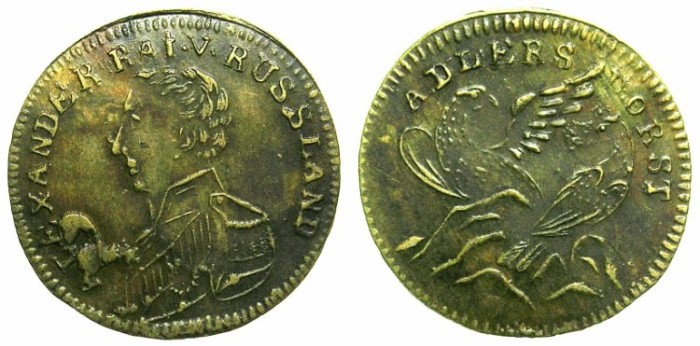 World Coins - GERMANY.AE.JETTON.Tsar Alexander I of Russia.Two Eagles.