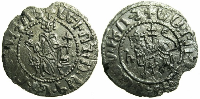 Ancient Coins - CILICIAN ARMENIA.Levon I AD 1198-1219.AR.Half double Tram.