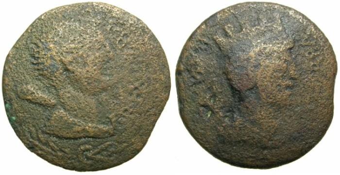 Ancient Coins - MAURETANIA.Juba II 25BC - AD 23.AE.~~~Diademed bust of Juba II.~#~ Tyche of Caesarea.