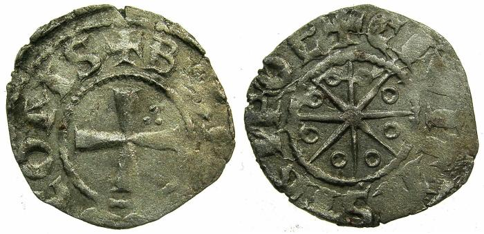 World Coins - CRUSADER STATES.Counts of TRIPOLI.Bohemond IV,V or VI C.1201-1274.Bi.Denier.Type 5.