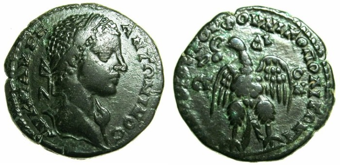 Ancient Coins - MOESIA INFERIOR.NIKOPOLIS AD ISTRUM.Elagabalus AD 218-222.AE.25.3mm. ~#~.Eagle on thunderbolt.