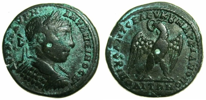 Ancient Coins - MOESIA INFERIOR.MARCIANOPOLIS.Elagabalus AD 218-222.AE.24.8mm. ~#~.Eagel on thunderbolt.