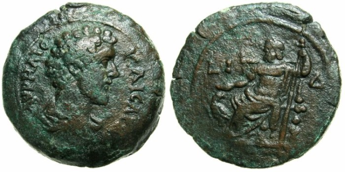 Ancient Coins - EGYPT.ALEXANDRIA.Marcus Aurelius Caesar AD 139-161.AE.Drachm struck AD 150/151.~#~Zeus enthroned.***** EX DATTARI COLLECTION *****