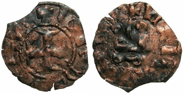 World Coins - CRUSADER STATES.GREECE.EPIRUS.John II Orsini AD1323-1335. Bi.Denier.Struck at the castle ARTA.
