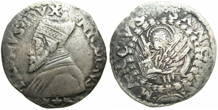 Ancient Coins - ITALY.VENICE. Nicolo Tron (1471-1473), Silver Trono  (or Lira of 20-Soldi).N.D.~~~Bust of Doge Nicolo Tron.
