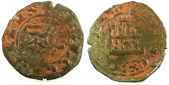 World Coins - SPAIN.CASTILLE AND LEON.Alfosnso X AD 1252-1284.Bi.Maravedi prieto.No mint mark.